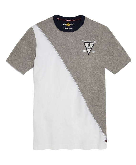 Prosport® Diagonal Pieced Tee Shirt White-Grey