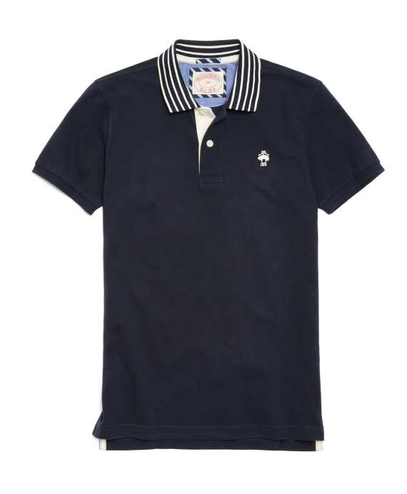Solid Striped-Collar Polo Navy
