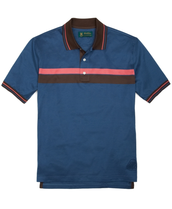 St Andrews Links Chest Stripe Polo Shirt Pink-Brown