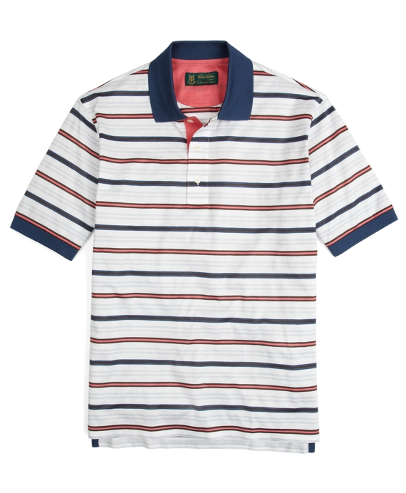 St Andrews Links Multistripe Polo Shirt White Multi