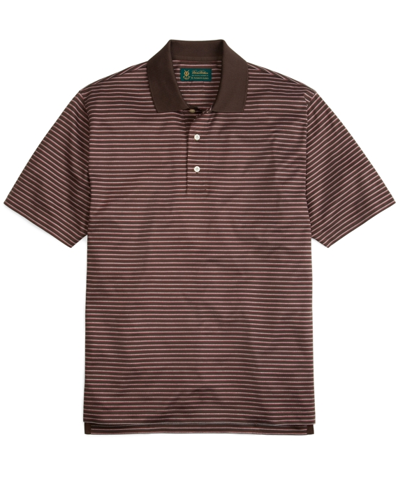 St Andrews Links Pinstripe Polo Shirt Chocolate