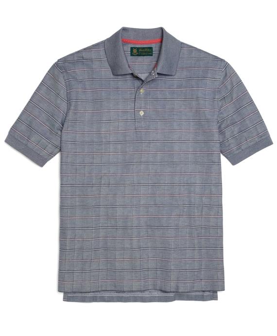 St Andrews Links Windowpane Polo Shirt Blue
