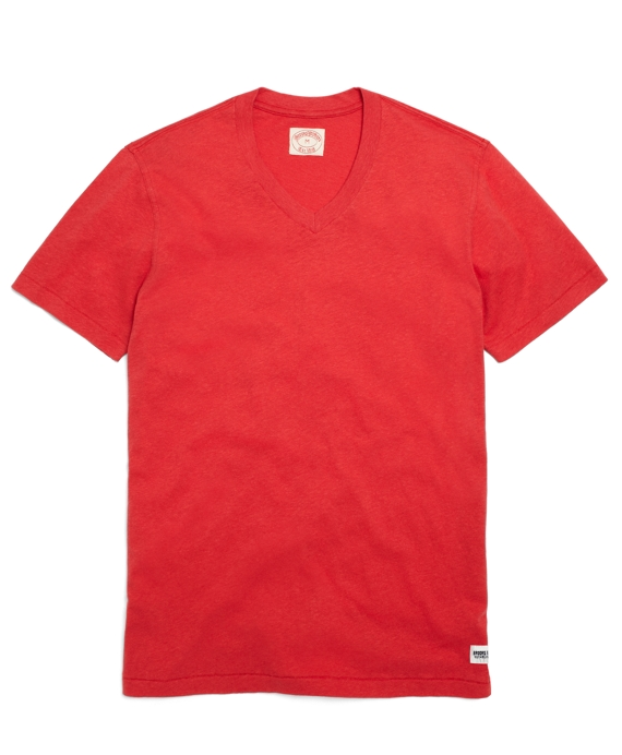 Linen and Cotton V-Neck Tee Shirt Chrysanthemum Red