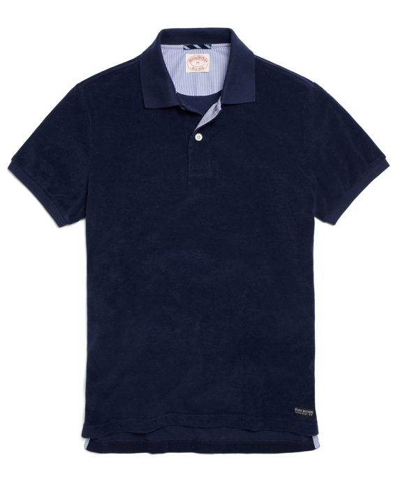 Solid terry cloth polo brooks brothers for Mens terry cloth polo shirt
