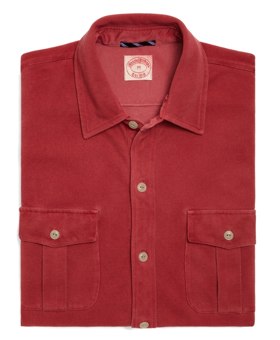 Spray-Dyed Button-Front Polo Chrysanthemum Red