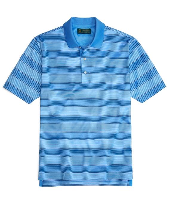 St Andrews Links Two-Tone Stripe Polo Shirt Blue
