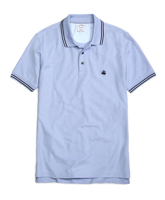 Golden Fleece® Slim Fit Double-Tipped Collar Pique Polo Shirt Powder Blue