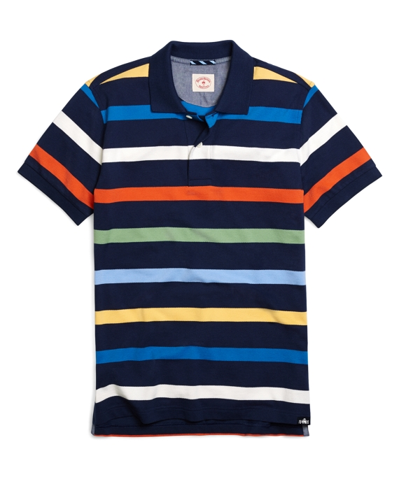 Yarn-Dyed Thick Multistripe Polo Shirt Navy Multi