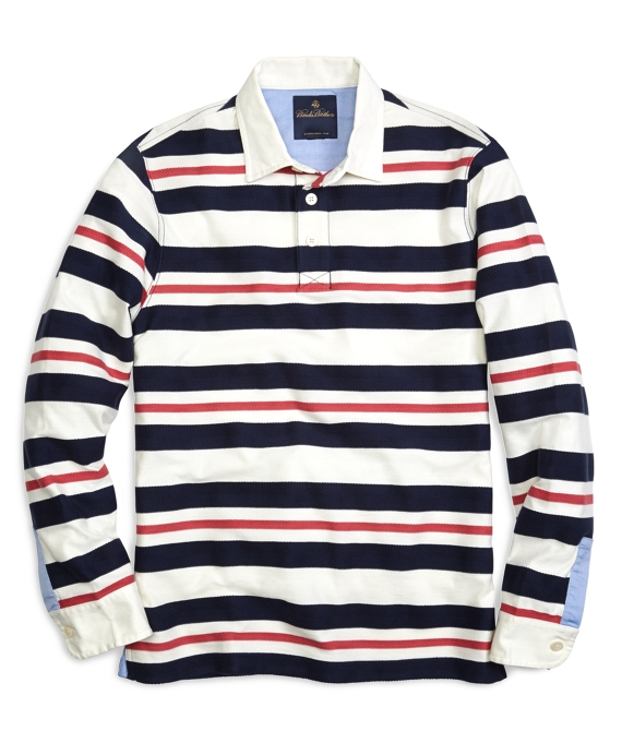 Textured Yarn-Dyed Stripe Rugby Ivory