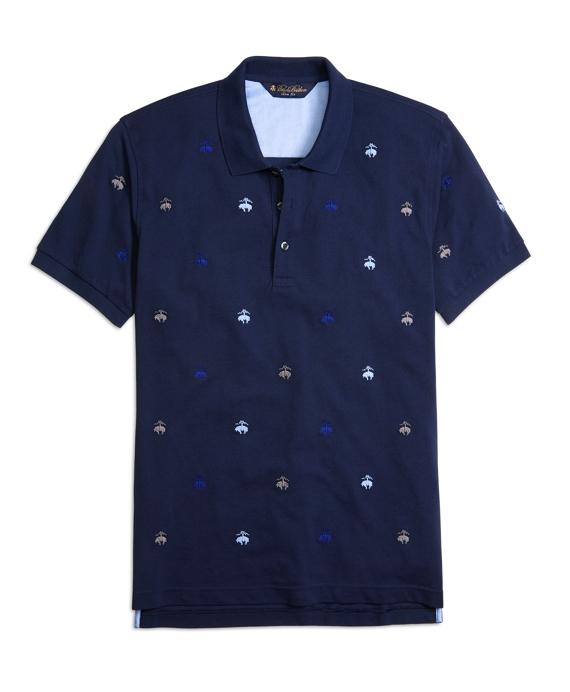 Slim Fit Allover Embroidered Golden Fleece® Polo Shirt Navy