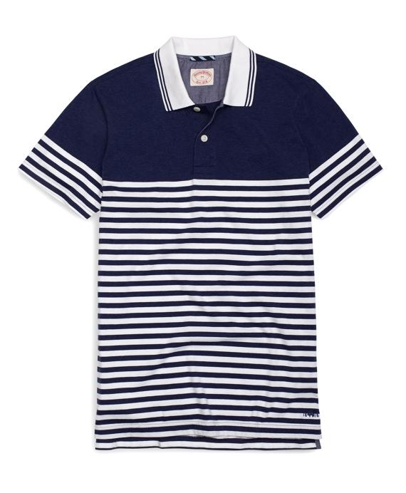 Stripe Heather Polo Shirt Navy