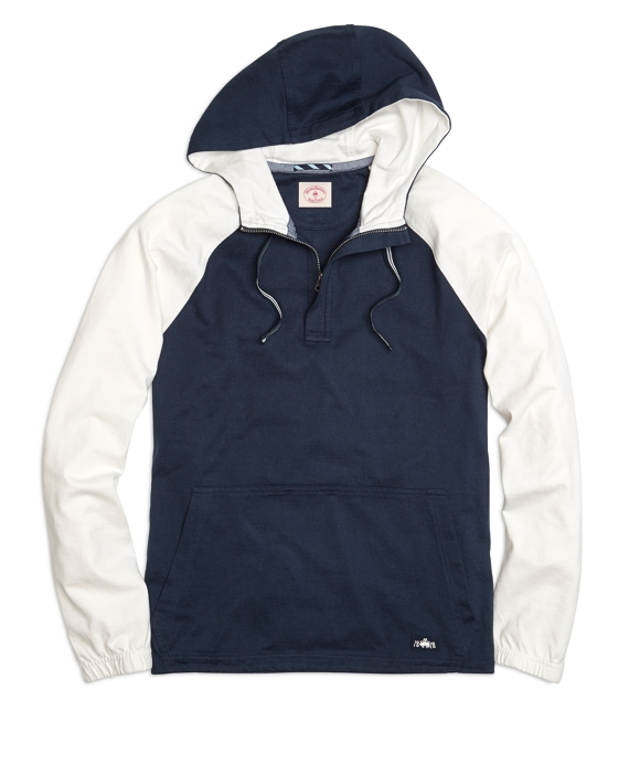 Color-Block Sleeve Hooded Pullover Navy