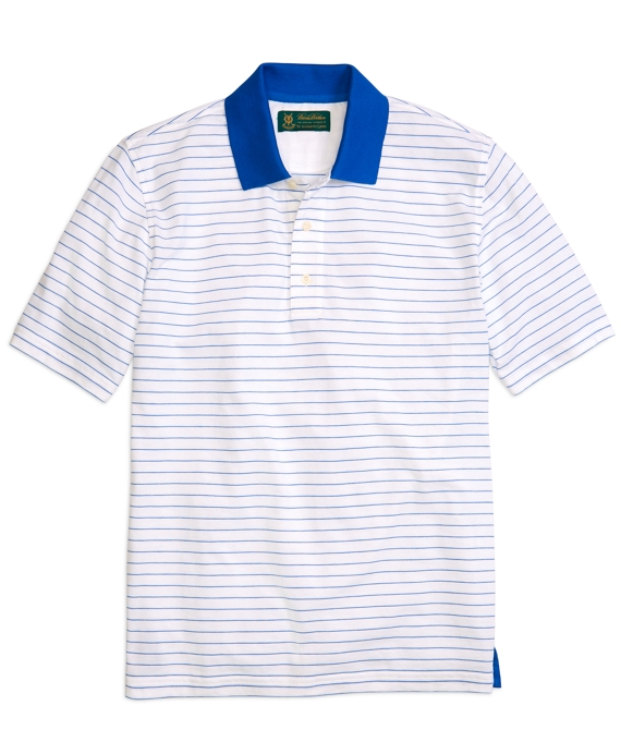 St Andrews Links Micro Stripe Pique Polo Shirt Cobalt