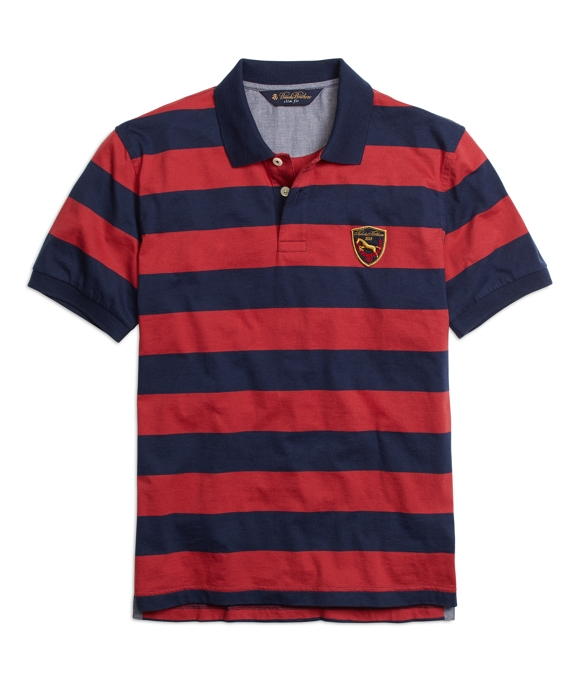 Slim Fit Yarn-Dyed Stripe Polo Shirt Chili Pepper