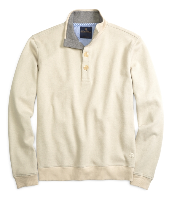 Button-Front Mockneck Oatmeal