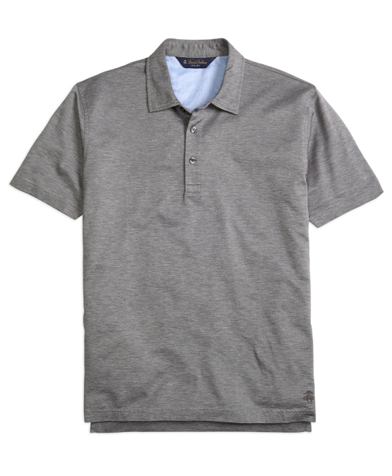 Slim Fit Heathered Polo Shirt Medium Grey