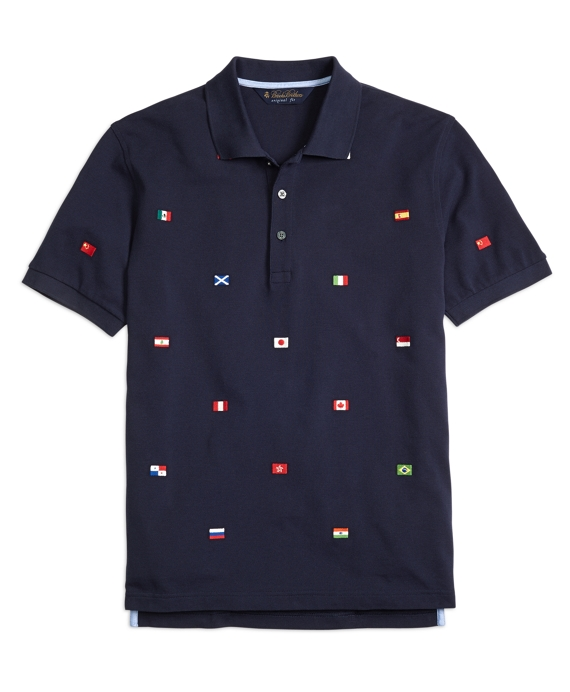 Original Fit Flags of the World Polo Shirt Navy