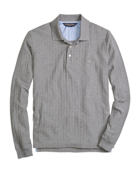 Slim Fit Long-Sleeve Herringbone Polo Shirt Medium Grey