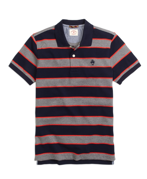 Framed Stripe Polo Shirt Navy