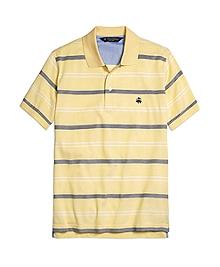 Slim Fit Uneven Bar Stripe Polo Shirt