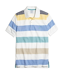 Slim Fit Wide Multibar Stripe Polo Shirt