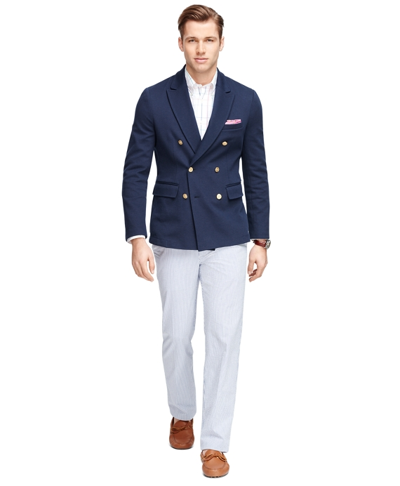 Men's Navy Blue Double-Breasted Knit Blazer | Brooks Brothers