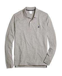 Slim Fit Long-Sleeve Heathered Polo Shirt