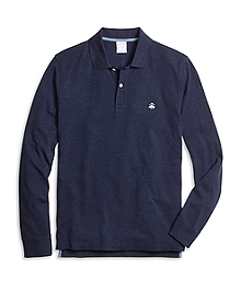Slim Fit Long-Sleeve Heathered Polo Shirt