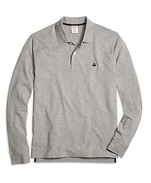 Original Fit Long-Sleeve Heathered Polo Shirt