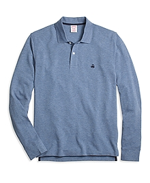 Original Fit Long-Sleeve Heathered Polo Shirt
