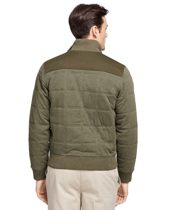 Men's Dark Green Quilted Bomber Jacket | Brooks Brothers