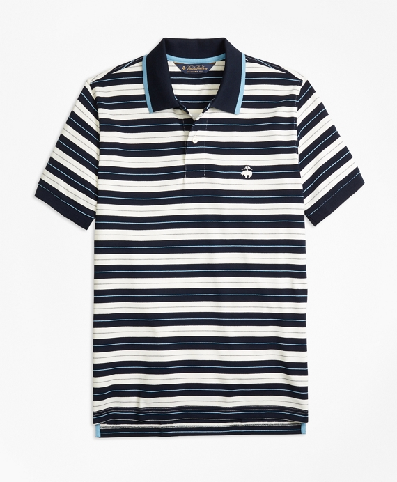 Slim Fit Tipped Collar Stripe Polo Shirt Navy