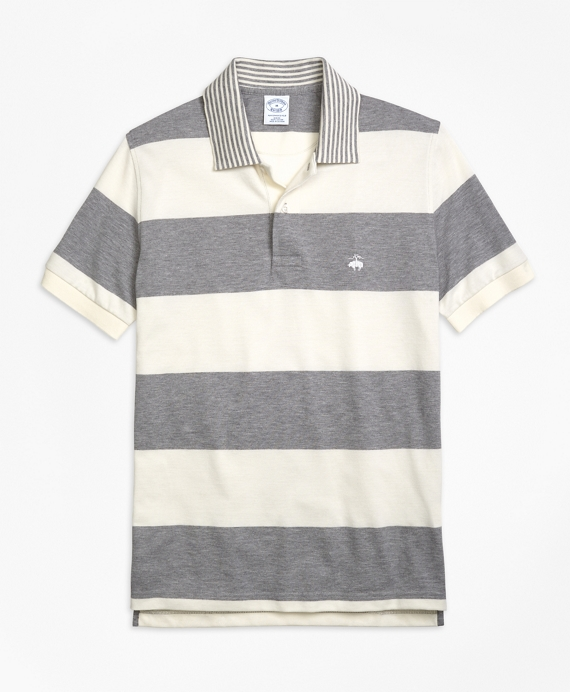 Slim Fit Engineered Rugby Stripe Polo Shirt Grey