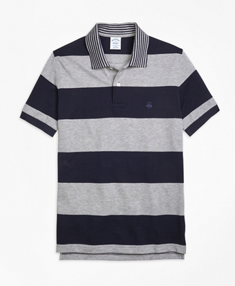 Slim Fit Engineered Rugby Stripe Polo Shirt
