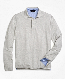 Long-Sleeve Cotton Linen Polo Shirt