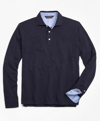 Long-Sleeve Cotton Linen Polo Shirt
