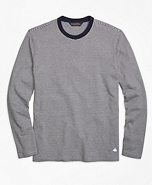 Long-Sleeve Stripe Crewneck Tee Shirt