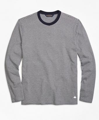 Long-Sleeve Stripe Crewneck Tee Shirt
