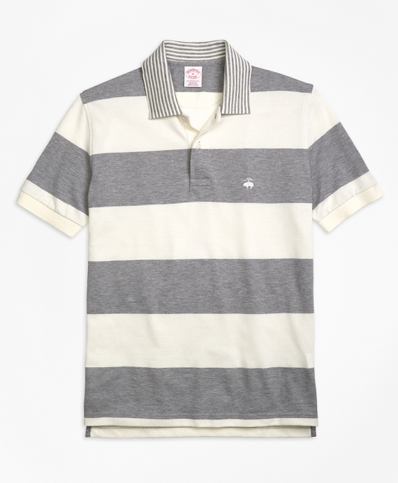 Original Fit Engineered Rugby Stripe Polo Shirt Grey