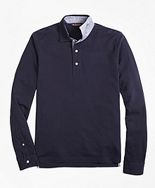 Slim Fit Vintage-Wash Long-Sleeve Polo Shirt