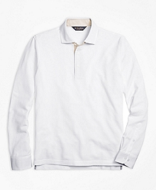 Vintage-Wash Long-Sleeve Polo Shirt