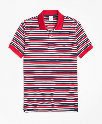 Slim Fit Americana Stripe Performance Polo Shirt