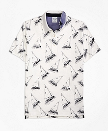 Slim Fit Paul Brown Boat Print Polo Shirt