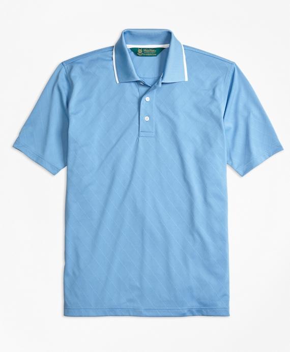 St Andrews Links Textured Diamond Golf Polo Shirt Blue