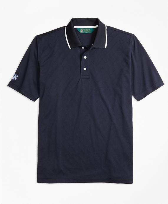 St Andrews Links Textured Diamond Golf Polo Shirt Navy