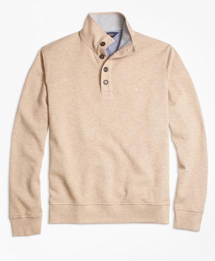 Pique Double-Knit Button-Front Mockneck