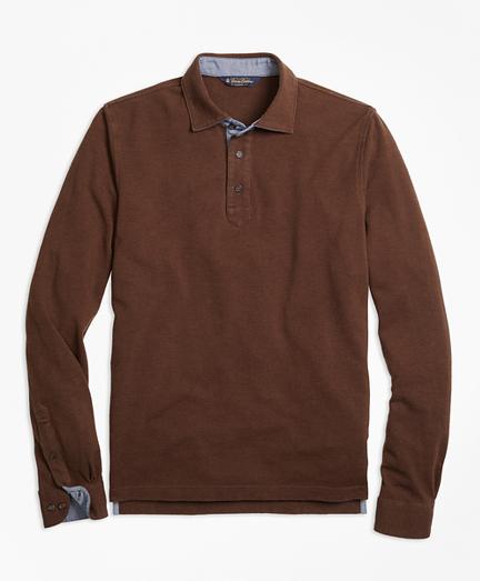 Vintage Wash Long-Sleeve Polo Shirt