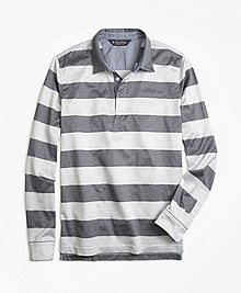 Slim Fit Rugby Stripe Long-Sleeve Polo Shirt