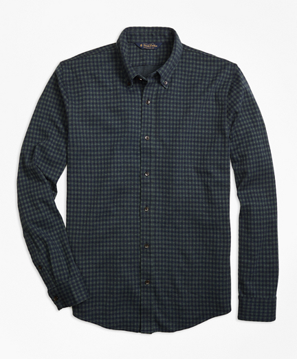 Knit Gingham Button-Down Shirt