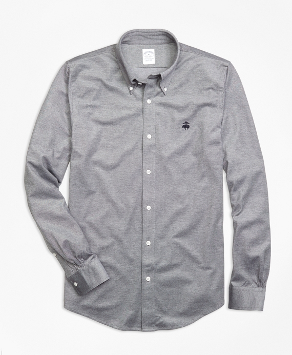 Supima® Cotton Button-Down Knit Shirt Navy